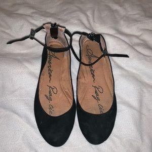 Black ankle strap flat